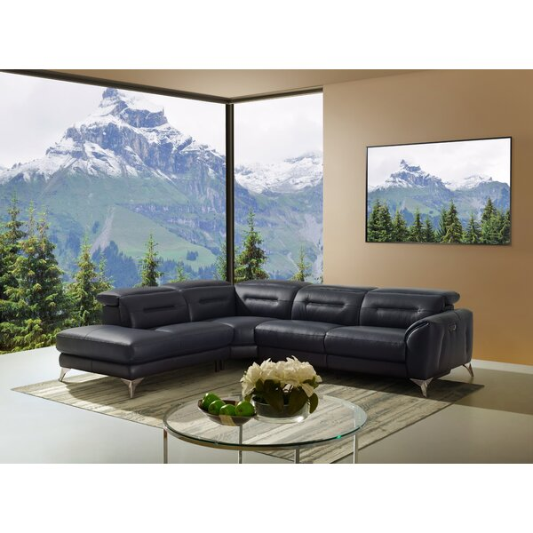 Melin Left Hand Facing Leather Reclining Sectional by Orren Ellis