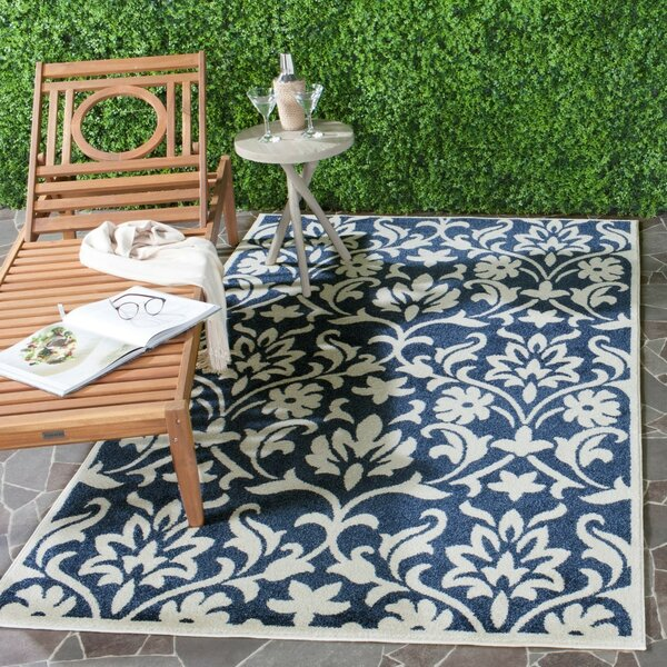 Washer Navy/Ivory Indoor/Outdoor Area Rug by Three Posts