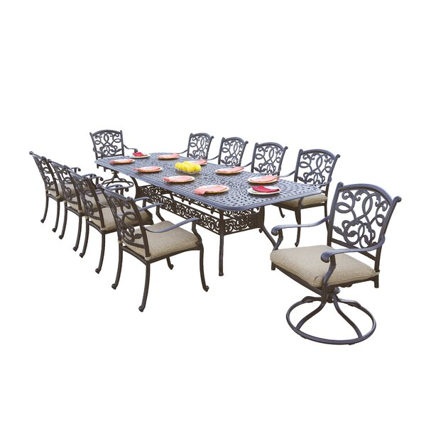 Windley 11 Piece Dining Set with Cushions by Fleur De Lis Living