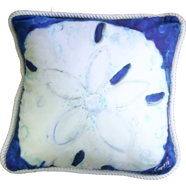 Sand Dollar Trimmed Cotton Throw Pillow by My Island