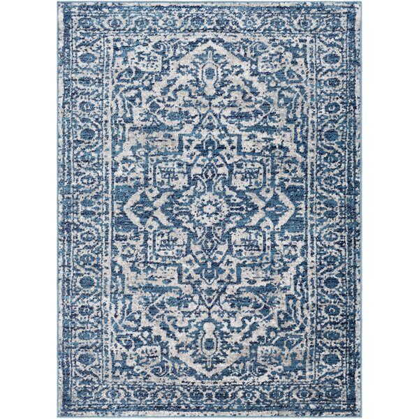 Ranck Distressed Cyan/Navy Area Rug by Bungalow Rose