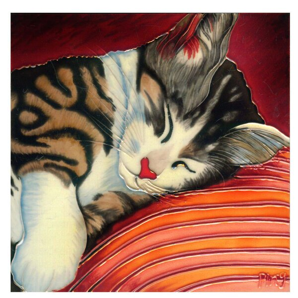 Cat Sleeping on Pillow Tile Wall Decor by Continental Art Center