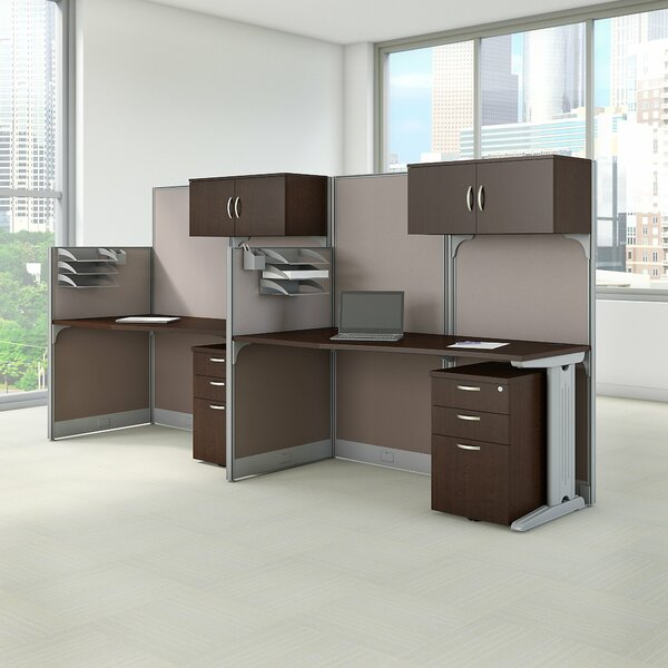 2 Person Cubicle Workstations 6 Piece Desk Office Suite by Bush Business Furniture