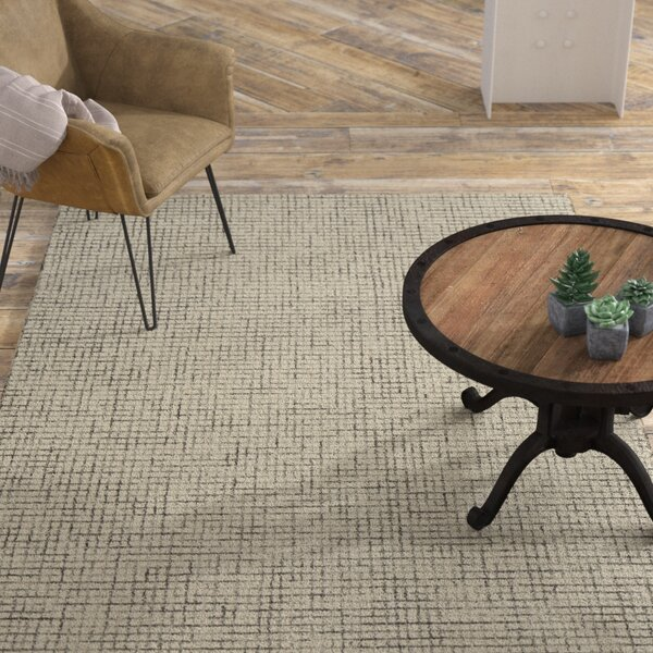 Mccurry Weave Hand-Hooked Wool Navy/Ivory Area Rug by Williston Forge