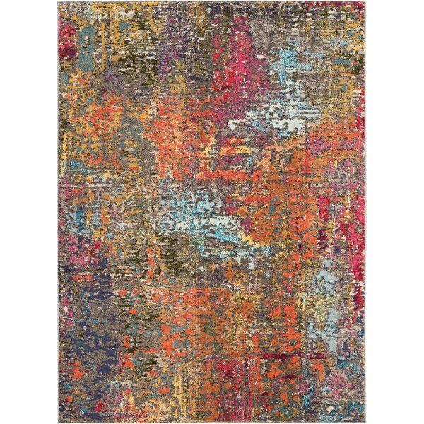 Allegro Bohemian Abstract Blue/Orange Area Rug by Ivy Bronx