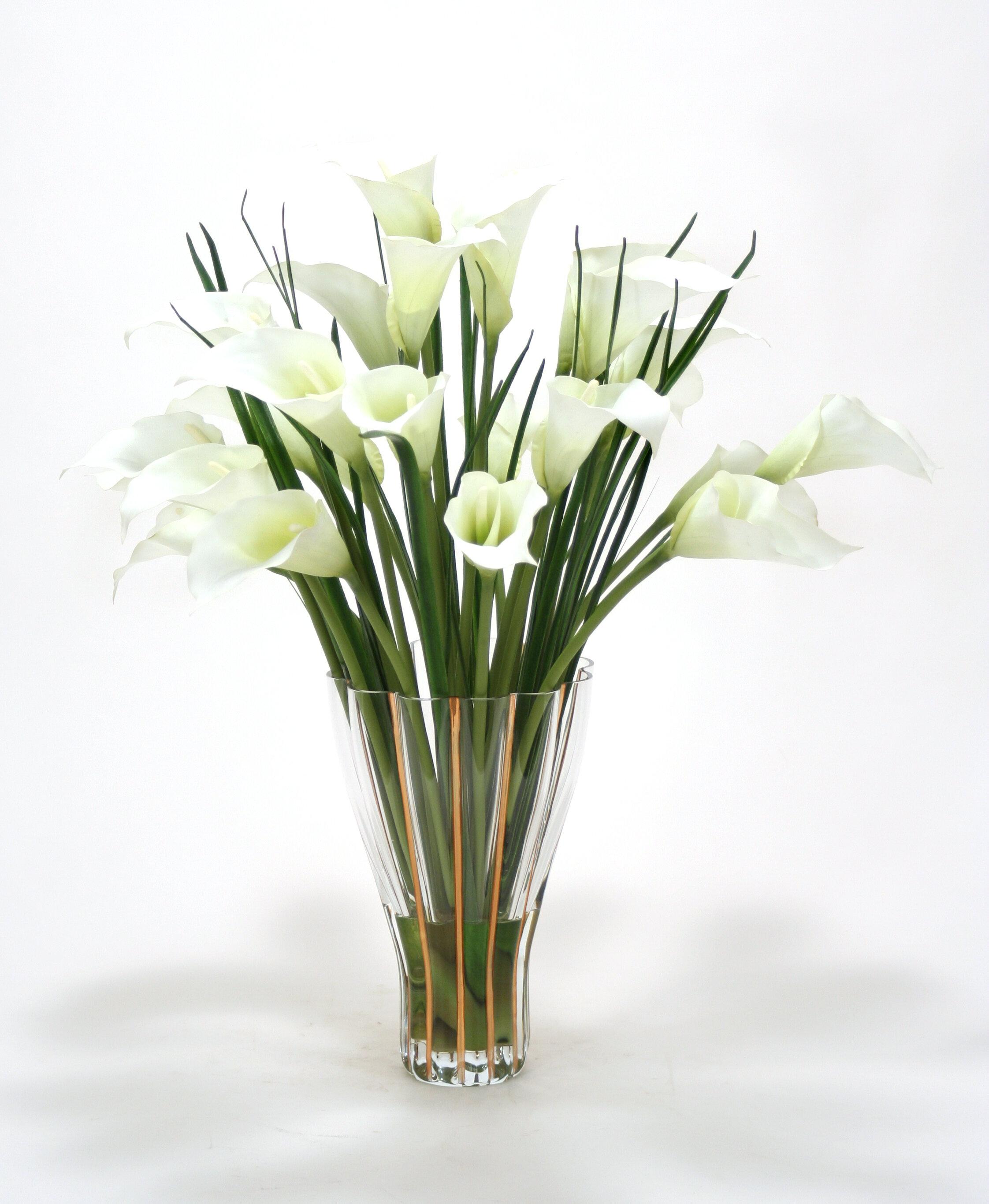 Distinctive designs white calla lilies in tall fluted vase distinctive designs white calla lilies in tall fluted vase reviews wayfair reviewsmspy