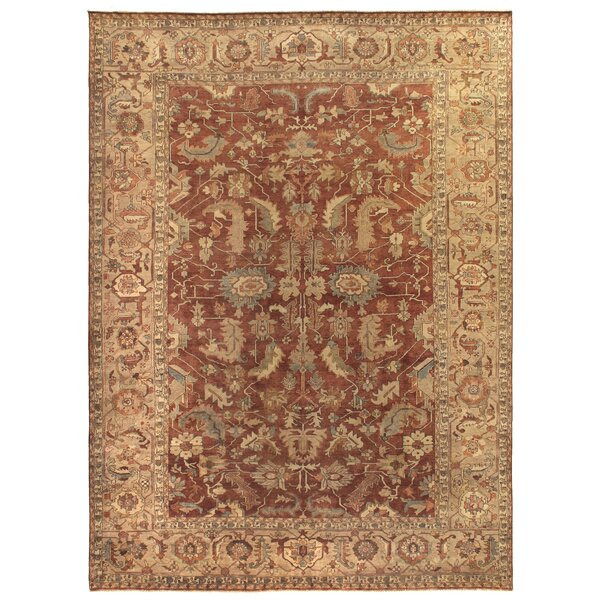 Serapi Hand-Knotted Wool Rust/Gold Area Rug by Exquisite Rugs