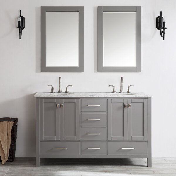 Newtown 60 Double Vanity Set with Mirror by Beachc