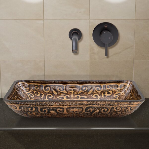 Greek Glass Rectangular Vessel Bathroom Sink with Faucet by VIGO
