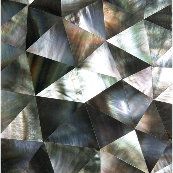 2 x 2 Authentic SeaShell Tile Seamless Crackle Mosaic Insert in Gray/Black Mother of Pearl (Set of 36) by SeaTile