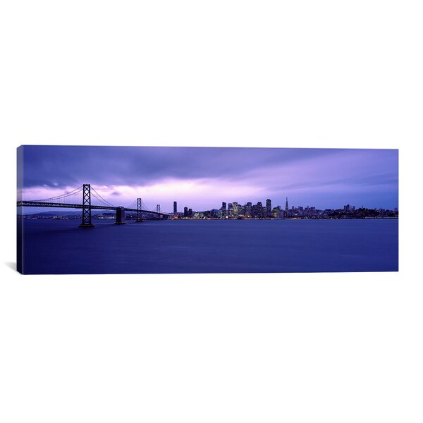 Panoramic Suspension Bridge Across a Bay, Bay Bridge, San Francisco, California Photographic Print on Wrapped Canvas by iCanvas