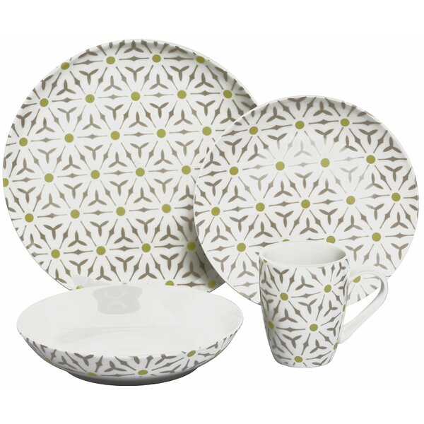 Romance Coupe 16 Piece Dinnerware Set, Service for 4 by Melange