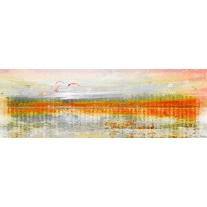 'Linear Birds' by Parvez Taj Painting Print on Wrapped Canvas by Parvez Taj