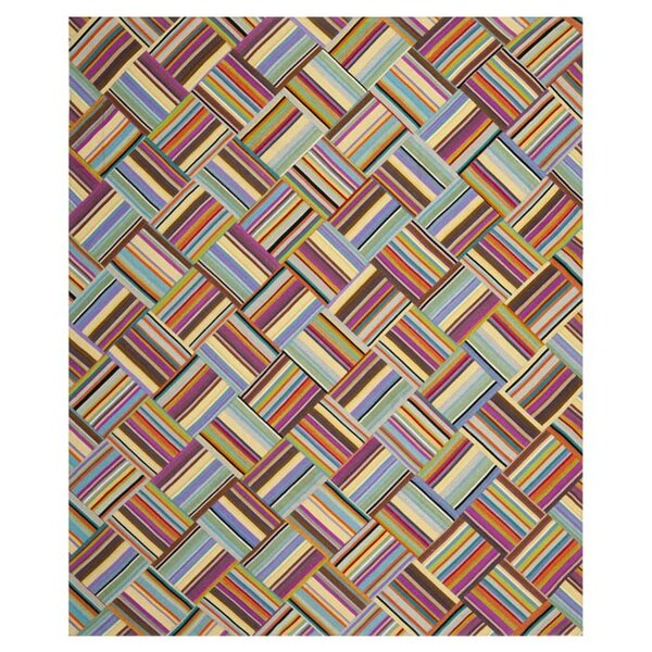 Straw Patch Hand-Woven Wool Pink/Blue Area Rug by Safavieh