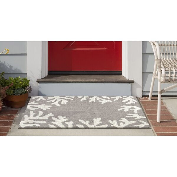 Claycomb Floral Handmade Tufted Silver Indoor/Outdoor Area Rug