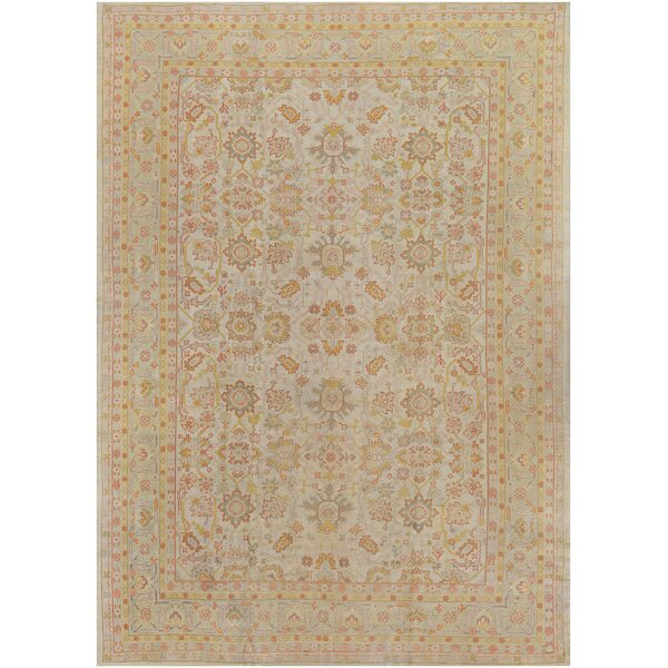 One-of-a-Kind Antique Oushak Handwoven Wool Ivory Indoor Area Rug by Mansour