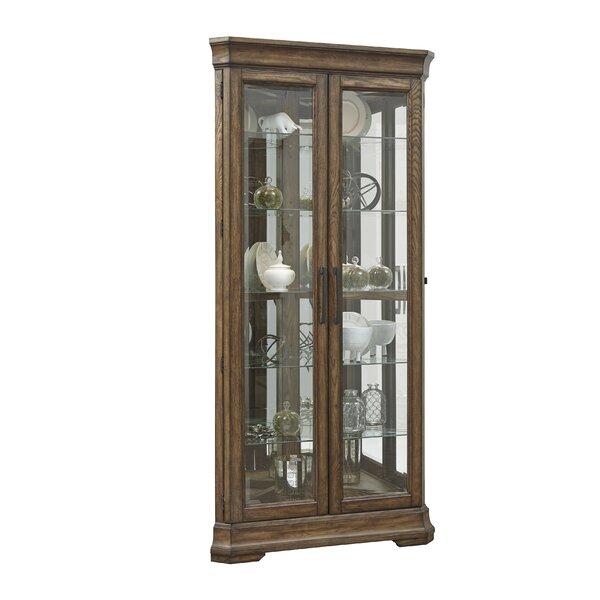 Caudill 5 Shelf Double Door Lighted Corner Curio Cabinet by Longshore Tides Longshore Tides