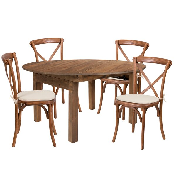 Alistair 5 Piece Solid Wood Dining Set by Millwood Pines