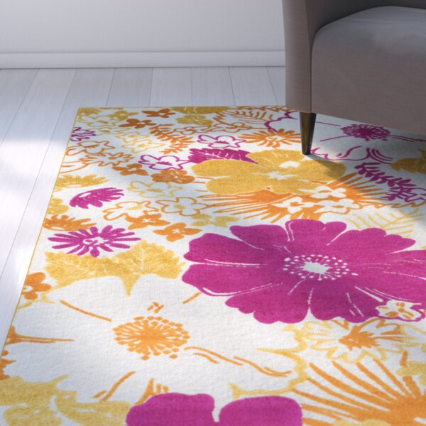 Dorinda Pink/Yellow Indoor/Outdoor Area Rug by Ebern Designs