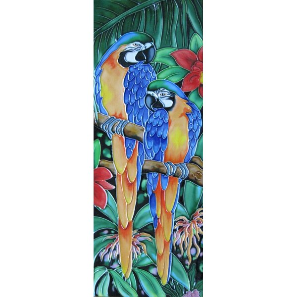 6 x 16 Ceramic Two Parrots Decorative Mural Tile by Continental Art Center