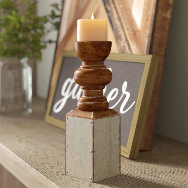 Metal and Wood Candlestick by Laurel Foundry Modern Farmhouse