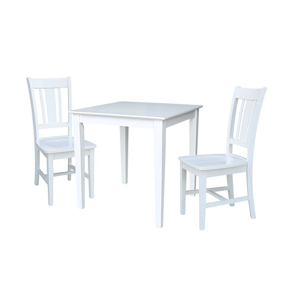 Crocker 3 Piece Solid Wood Dining Set by Rosecliff Heights