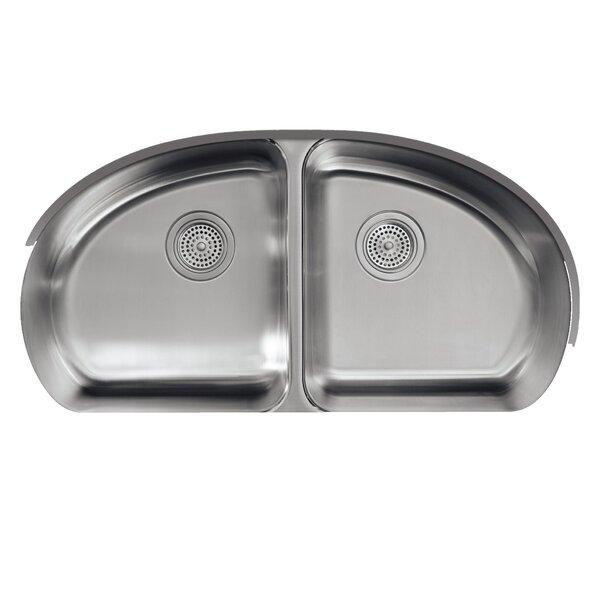 Undertone 34-9/16 L x 18-1/2 W x 9-1/2 Under-Mount Double-Equal Bowl Kitchen Sink by Kohler