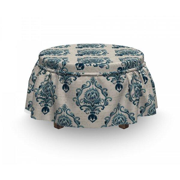 Damask Nostalgic Baroque Blooms 2 Piece Box Cushion Ottoman Slipcover Set By East Urban Home