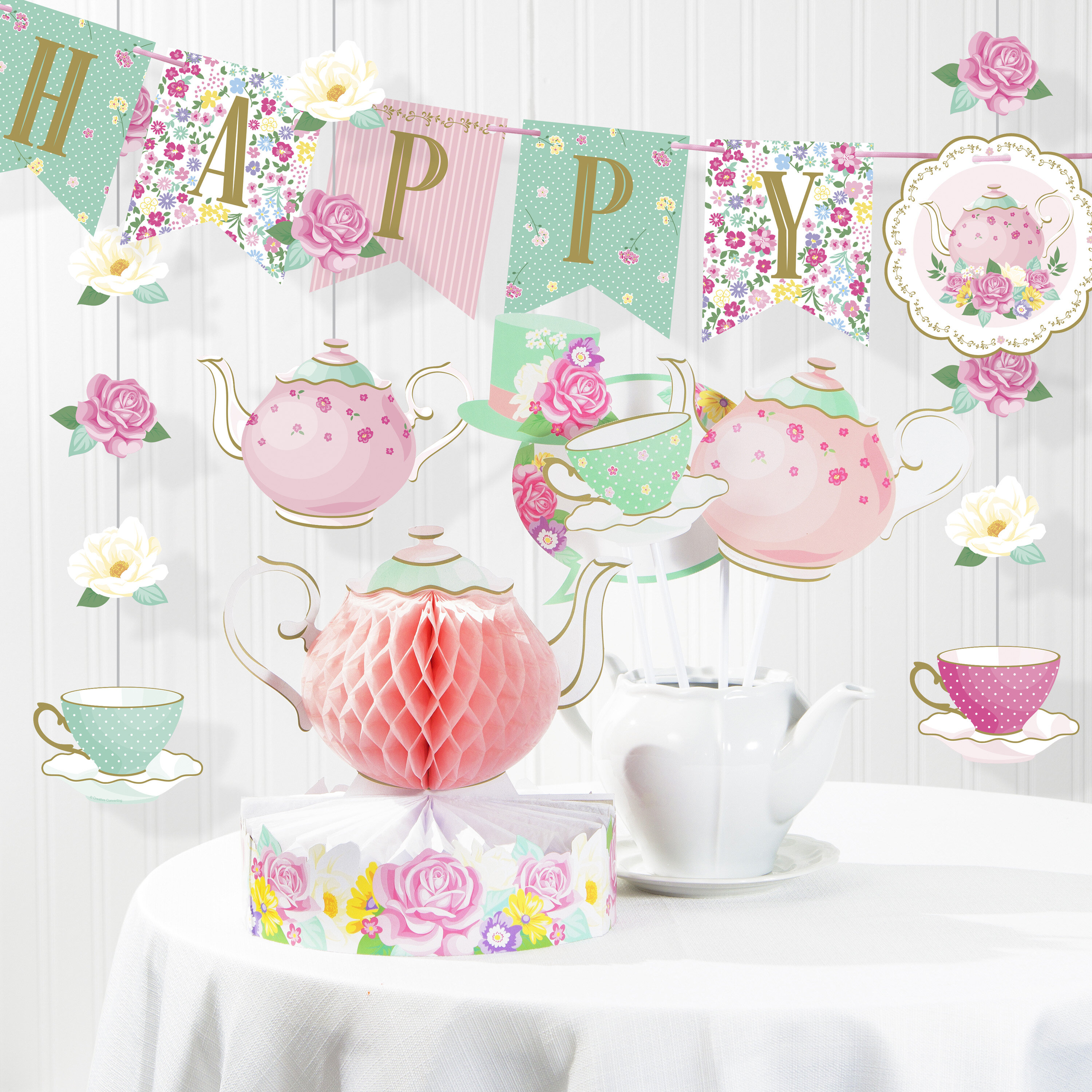 ROSE GOLD Plates Cups Table Cloth Decorations Shiny Disposable Birthday Party