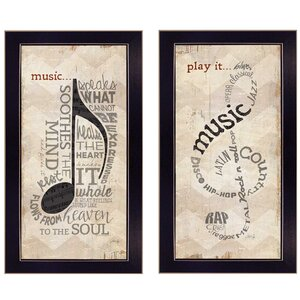 'Music' 2 Piece Framed Textual Art Set by Trendy Decor 4U