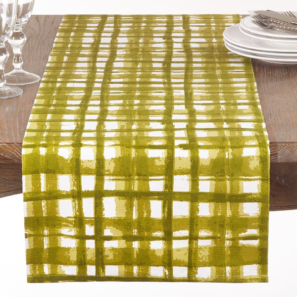 Glidden Cotton Basket Weave Print Table Runner by Ivy Bronx