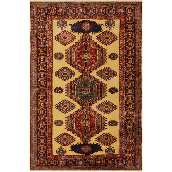 One-of-a-Kind Aala Hand-Knotted Wool Gold/Blue Area Rug by Isabelline