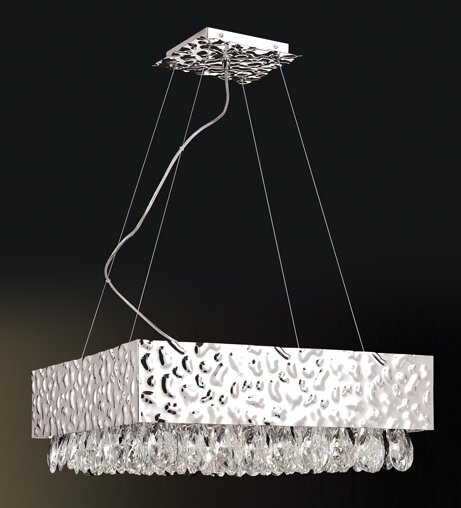 Holldorff 12 - Light Unique / Statement Rectangle / Square Chandelier With Crystal Accents By Orren Ellis