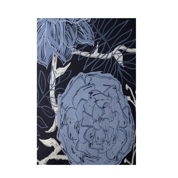 Floral Navy Blue Indoor/Outdoor Area Rug by e by design