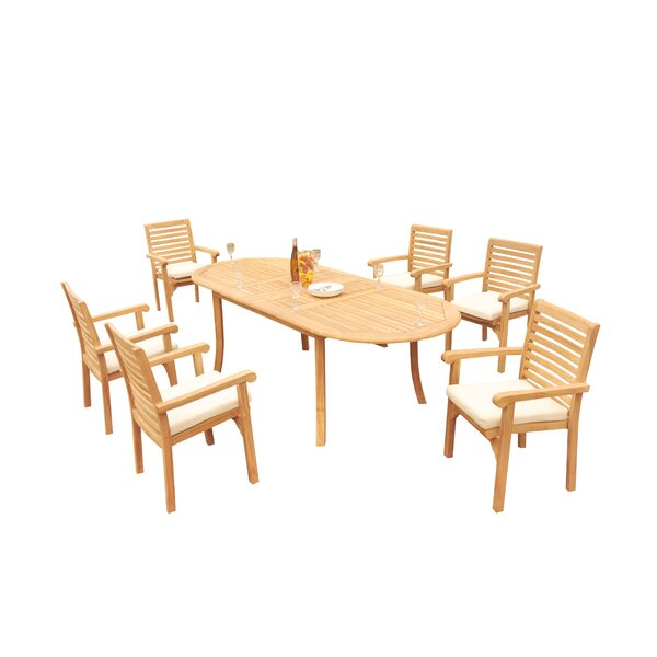 Fontinella Luxurious 7 Piece Teak Dining Set by Rosecliff Heights