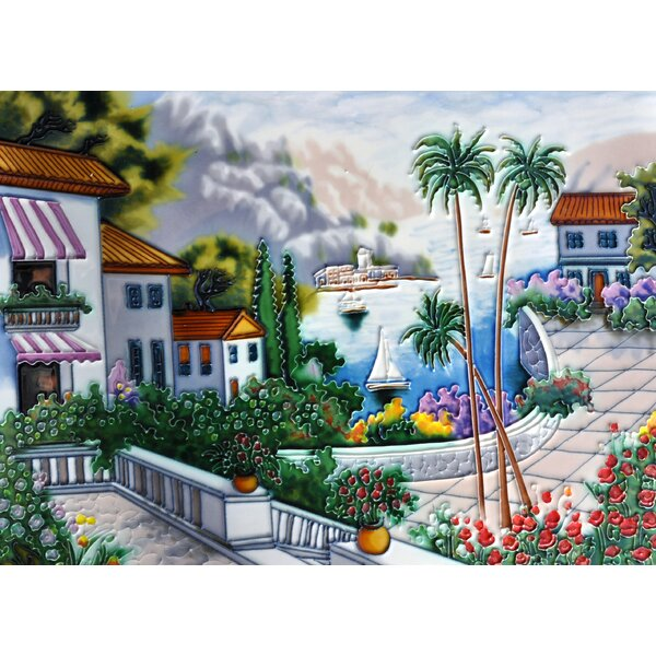 Mediterranean with Palm Tile Wall Decor by Continental Art Center