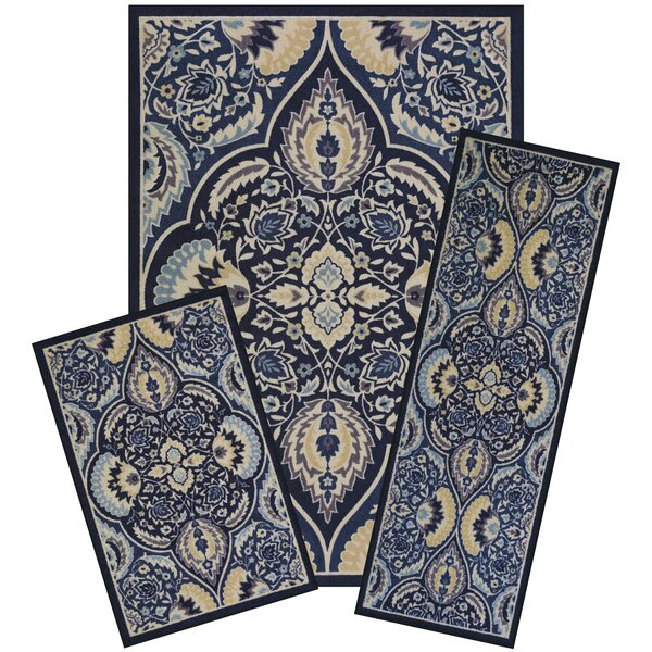 Ora 3 Piece Blue Area Rug Set by World Menagerie