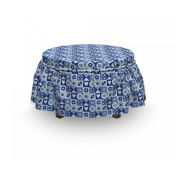 Abstract Grid Squares 2 Piece Box Cushion Ottoman Slipcover Set By East Urban Home