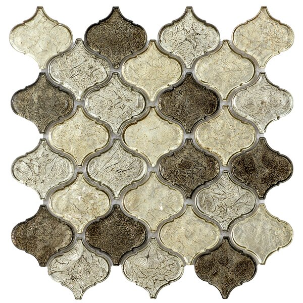 Mini Lantern 11.81 x 12.2 Glass Mosaic Tile in Champagne by Byzantin Mosaic