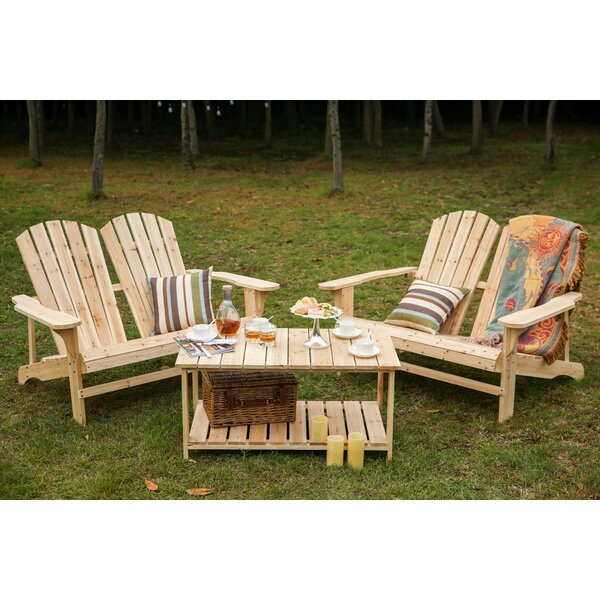 Ogrady Wood Adirondack Chair with Table by Loon Peak Loon Peak