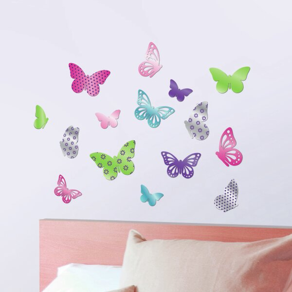 Kellett Glitter Butterflies and Mirror Wall Decal (Set of 6) by Zoomie Kids