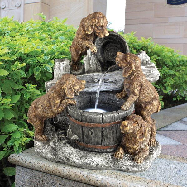 Resin Puppy Pail Pour Garden Fountain with LED Light by Wildon Home ®