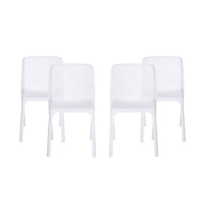 Neve Outdoor Stacking Patio Dining Chair Ebern Designs Color: White