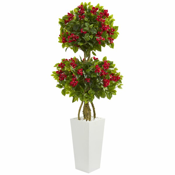 Double Artificial Floor Bougainvillea Tree in Planter by Orren Ellis