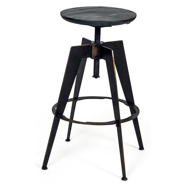 Halie Adjustable Height Swivel Wood Bar Stool by Williston Forge