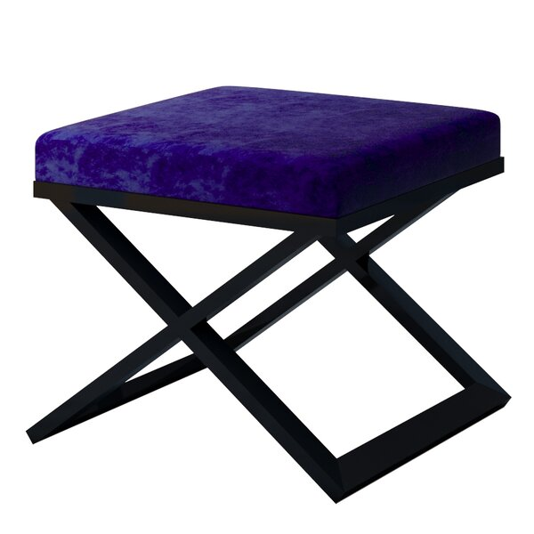 Ahumada X-Base Solid Velvet Contemporary Vanity Stool by Everly Quinn