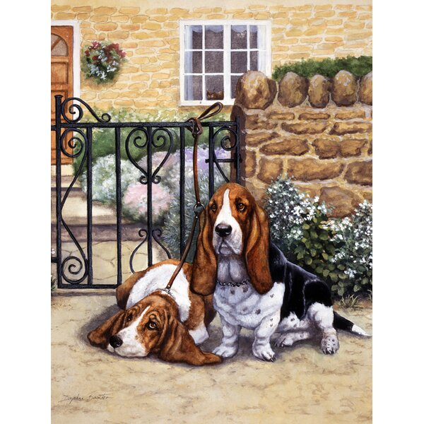 Basset Hound at the Gate 2-Sided Garden Flag by Caroline's Treasures