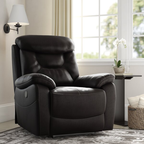 Hurdland Leather Power Recliner By Red Barrel Studio