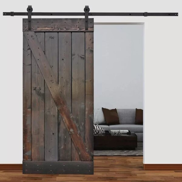 Solid Wood Paneled Pine Slab Interior Barn Door by Calhome