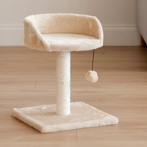 17 Plush Cat Perch with Dangling Toy by IRIS USA,